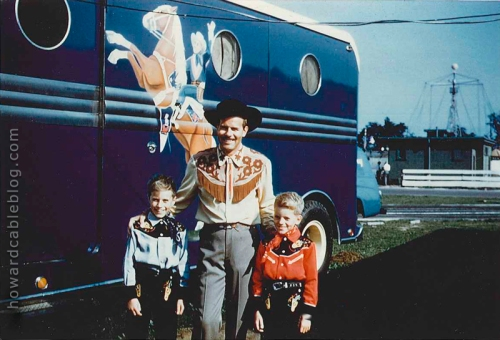 With my two sons beside Trigger's horse trailer at the CNE 1954.