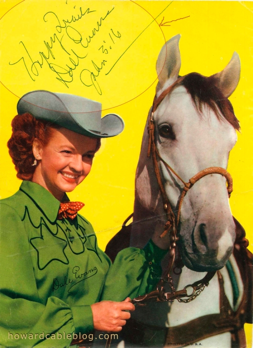 Dale Evans with Buttermilk - autographed photo 1954